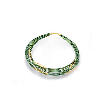 Green Hematite & Gold Plated Silver Tube Necklace by Tip-To-Toe