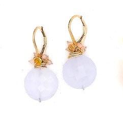 Chalcedony Coin Earrings by River Song