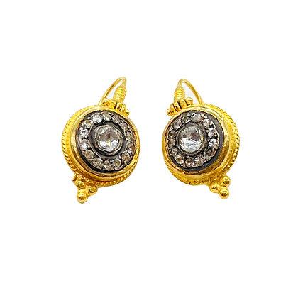 White Sapphire Shield Earrings