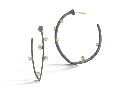 Scribble Shadow Medium Saturn Hoop Earrings