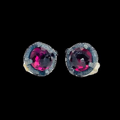 Fuchsia Garnet Stud Earrings   6mm