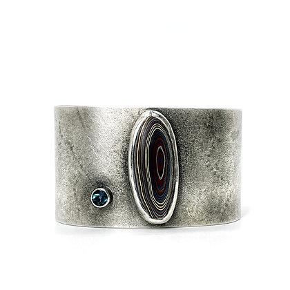 Topaz & Fordite Half Round Cuff Bracelet by Chrissy Liu