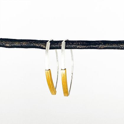 Marquise Hoop 2-Color Square Earrings