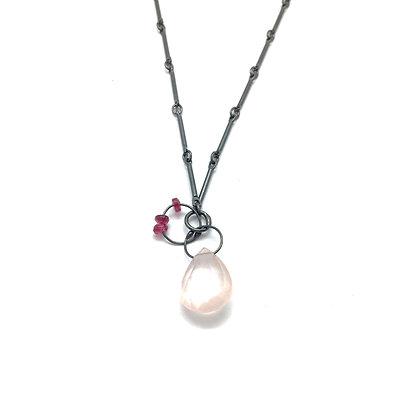 Rose Quartz & Garnet Mini Tangle Necklace by Heather Guidero