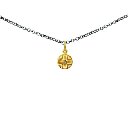 The Symbol for Universe with Diamond Pendant Necklace by Prehistoric Works