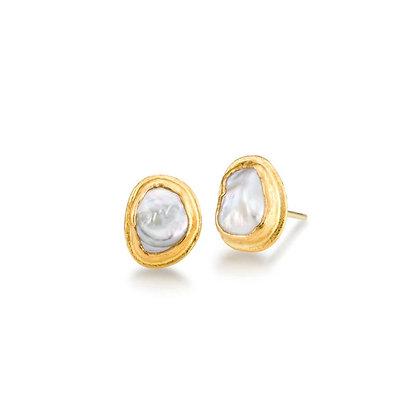 Pearl Gold Stud Earrings by ARA