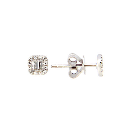 Diamond Cushion Stud Earrings by Dilamani