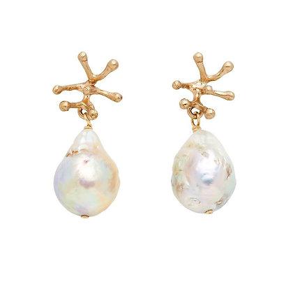 Stamen Ivory Pearl Bronze Earrings by Julie Cohn
