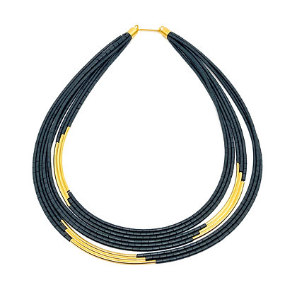 Hematite & Sterling Gold Tube Necklace