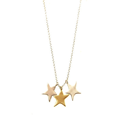 3 Mixed Metal Stars Necklace by Philippa Roberts