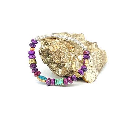 Crazy Lace Silver Bar Bracelet by Riverstone