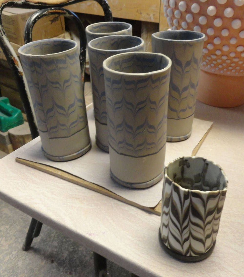 Neriage clay tumblers by Sue Burdick Young, Young's Studio & Gallery, Jay, NY