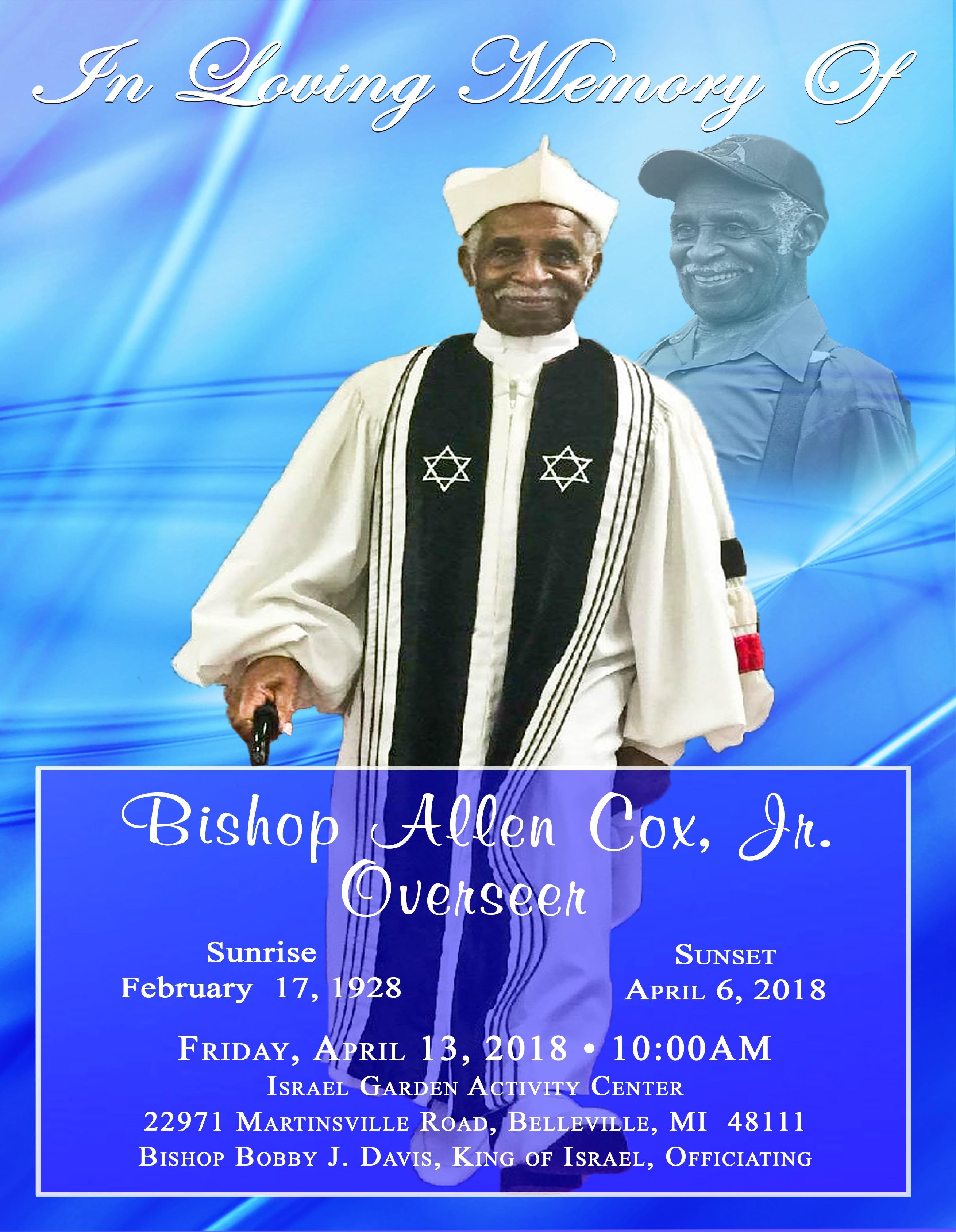 Bishop Cox Obituary (outside)