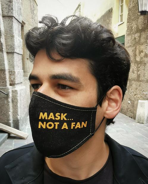 """MASK...NOT A FAN"" Black Demin Mask Men's Size"