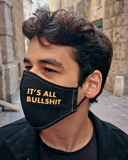 """IT'S ALL BULLSHIT"" Black Denim Mask Men's Size"