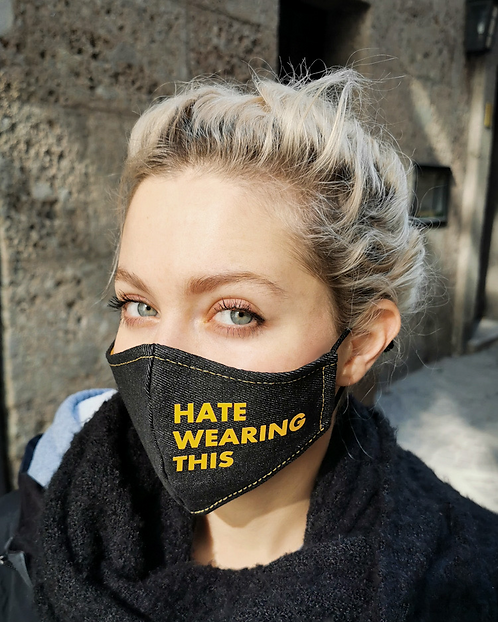 """HATE WEARING THIS"" Black Denim Mask Women's Size"