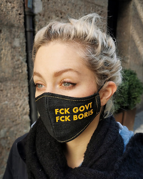 """FCK GOVT FCK BORIS"" Black Denim Mask Women's Size"