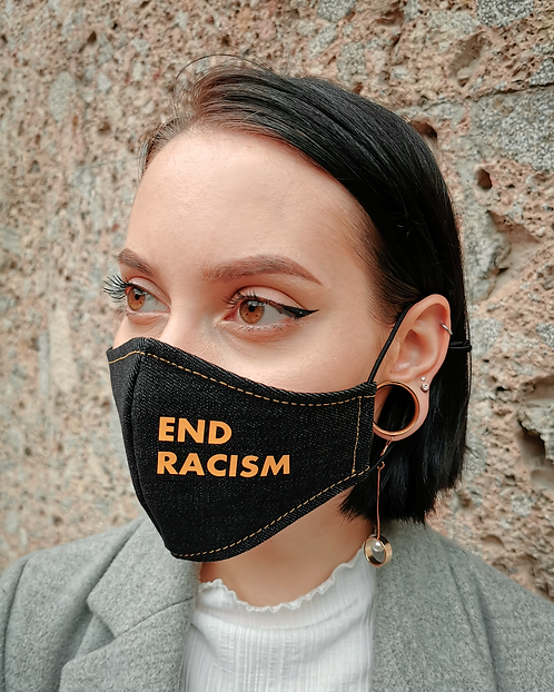 """END RACISM"" Black Denim Mask Women's Size"