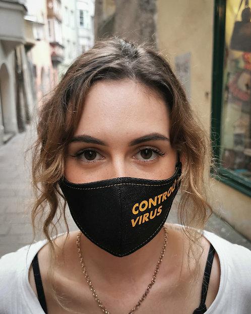 """CONTROLA VIRUS"" Black Denim Mask Women's Size"