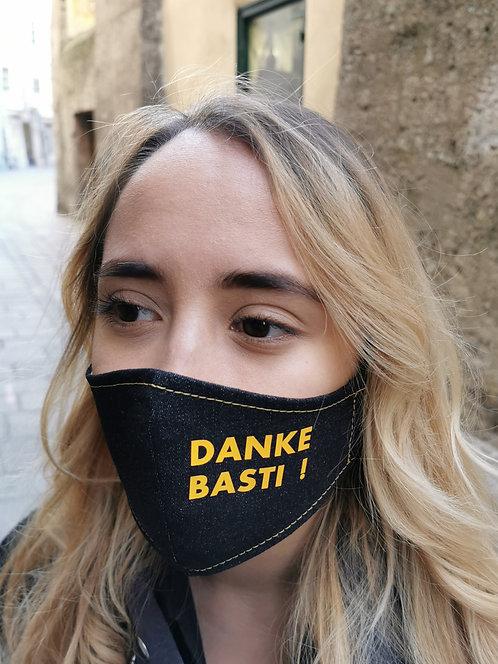 """DANKE BASTI"" Black Denim Mask Women's/Men's Size"