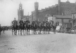 Historical mounted police near armory
