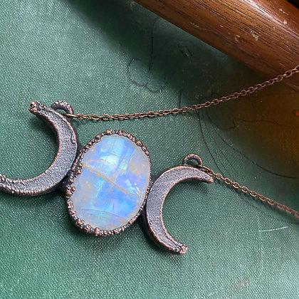 Triple Moon Rainbow Moonstone Necklace