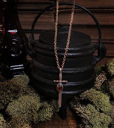 Garnet Dagger Necklace