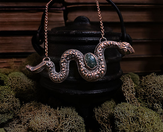 Moss Agate Snake Necklace