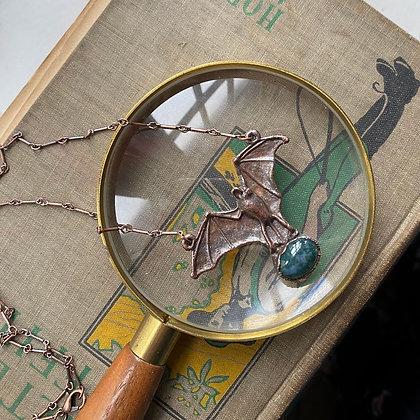 Moss Agate Bat Necklace