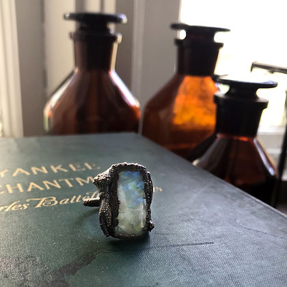 Rainbow Moonstone Hand Ring