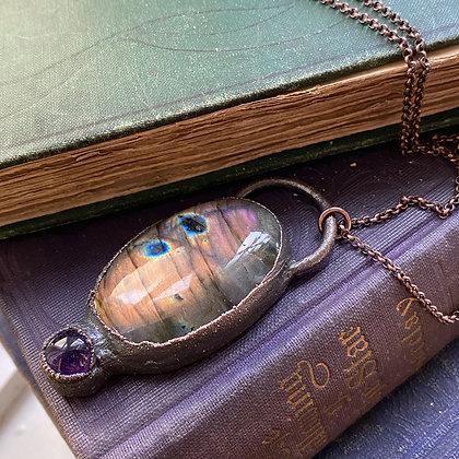 Purple Labradorite & Amethyst Necklace