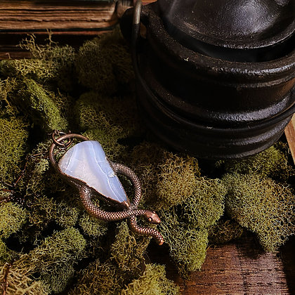 Blue Lace Agate Snake Necklace