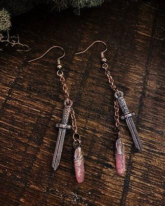Dagger Earrings with Rhodonite Drops