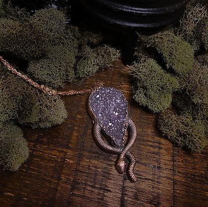 Amethyst Cluster Snake Necklace