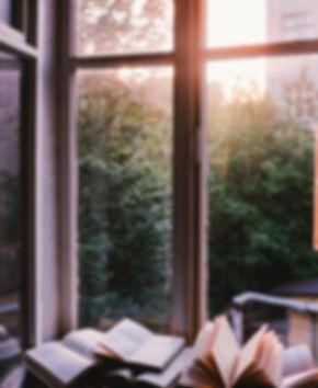 Libros en la ventana con vistas a vegetación y una luz tenue