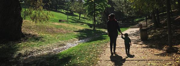 Healthy family walking