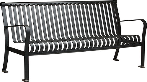 Vista Superior Series Black Bench with Back