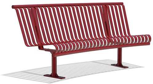 Vista Superior Series Curved Bench - Red