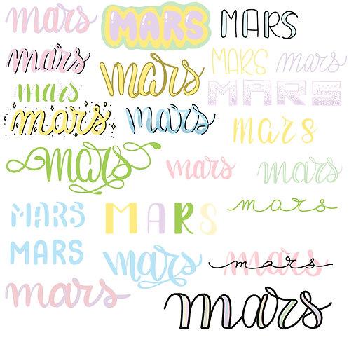 Lettering mois de  MARS