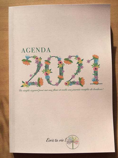 agenda 2021 couverture rose et fleurs