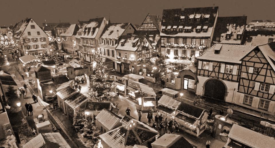 Le marché de Noël avec le restarant