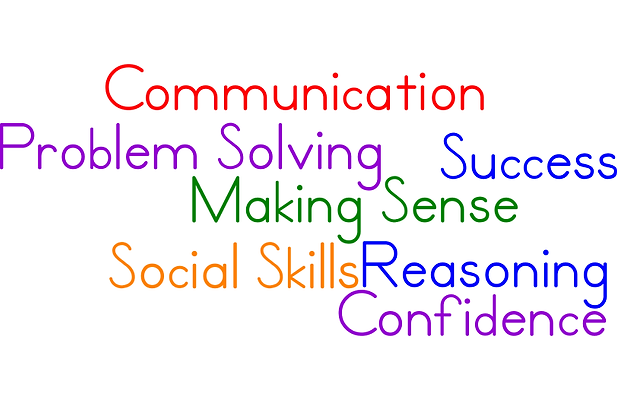 Image of the following words: Communication, Problem Solving, Success Making Sense, Social Skills, Reasoning, Confidece