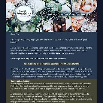 global wedding awards, winner, lytham candy carts, lux life magazine, north west, lytham