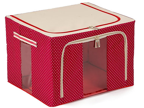 JJMG Red Stackable Storage Box Polka Dots (See Through Window)