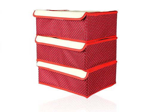 JJMG Red Stackable Storage Box Polka Dots (Set Of 3)
