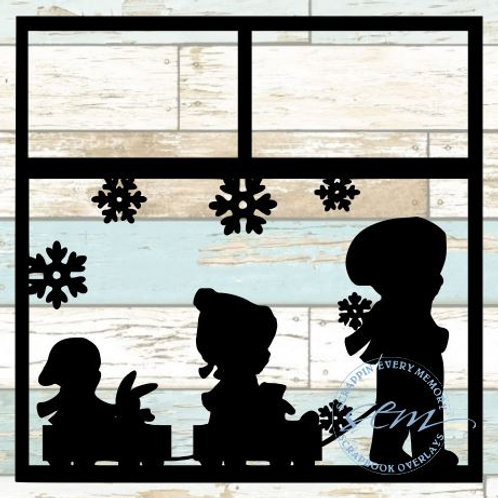 Kids In Snow Scrapbook Overlay