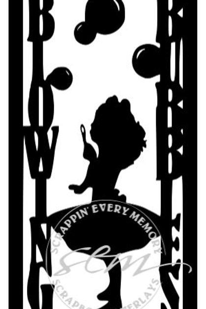 Blowing Bubbles Girl Vertical Scrapbook Title