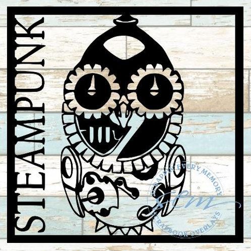 Steampunk Owl Scrapbook Overlay