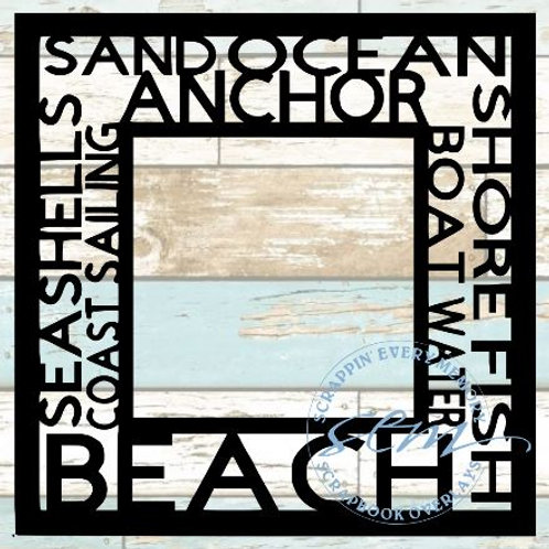 Beach Tag Text Scrapbook Overlay