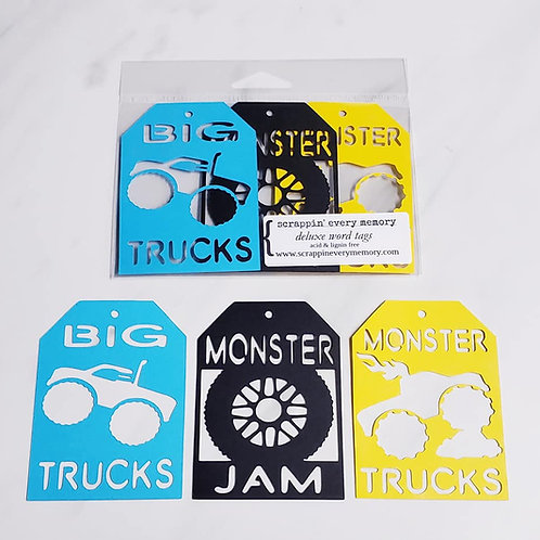 Monster Trucks Deluxe Word Tags